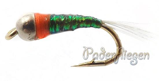 Perdigon Tungsten Dark Olive Orange Spot
